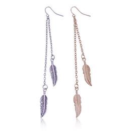 Wholesale Wholesaler Korea Accessories - 2017 Korea Fashion Accessories Jewelry Long Metal Feather Earrings For Women Bohemian Dangle Retro Style Tassel Alloy Earrings FE332