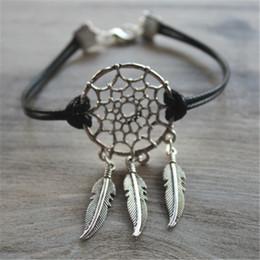 Wholesale Bracelet Dreamcatcher - 20pcs Silver Tone Dream catcher dreamcatcher Feather leather Bracelet adjustable