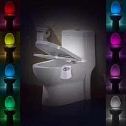 Wholesale Battery Sensors - Sensor Motion Activated LED Toilet Night Light Battery-powered 8 Changing Colors Magic Toliet LED Sensor Lamp