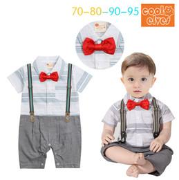 Wholesale Bodysuits Gentleman - Gentleman stripe braces Baby Rompers Infant One Piece Clothing Newborn Romper boys Jumpsuit Bodysuits Baby Onesies Baby Boy Clothing A873