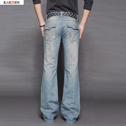 Wholesale Free Boot Pattern - Wholesale-Men's Business Casual Jeans Male Mid Waist Elastic Slim Boot Cut Semi-flared Four Seasons Light blue Bell Bottom Jeans 27-38