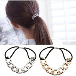 Wholesale Ponytail Gold - 2016 Korean Punk hair bands Gold Silver Plated Woman Elastic Hair Band Rope Ties Metal Ponytail Holder Girls Hair Accessories