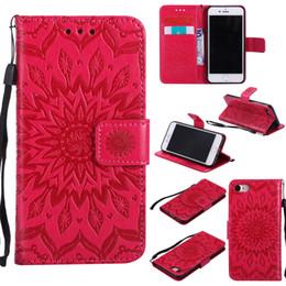 Wholesale Mobile Phone Leather Lanyard - Lanyard For iphone 7 7plus 6s 6splus 6 6plus Sun Pattern leather case 3D leather case Flip top mobile phone cover