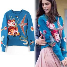 Wholesale Sweater Birds - HIGH QUALITY Luxury Embroidery Wool Sweaters 2017 Fashion Runway Women Designer Bird Rhinestone Beading Pullovers Knitted Sweaters