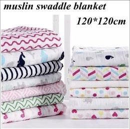Wholesale Cotton Gauze Muslin - Newborn Ins chevron muslin swaddle Baby soft 2 layers cotton gauze towel blankets 20 designs summer quilt stroller cover 120*120cm