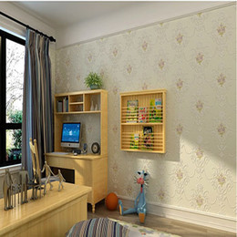 Wholesale Full House Wallpaper - European non-woven wall paper 3D relief warm embossed 0.53m * 10m bedroom for living room full house TV wallpapers