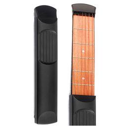 Wholesale Wooden Model Guitar - Wholesale- MSOR Portable Pocket Guitar 6 Fret Model Wooden Practice 6 Strings Guitar Trainer Tool Gadget for Beginners