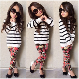 Wholesale 2pc Fashion - Girls fashion Flower suits Striped top Floral Legging pants 2pc sets for 2-7T kids Miniature Adult outfits