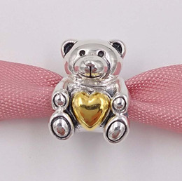 Wholesale Teddy Movie - 925 Sterling Silver Beads Mother'S Day Teddy Bear Charm Fits European Pandora Style Jewelry Bracelets & Necklace 791166 Mothers day gift