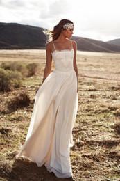 Wholesale Chiffon Vintage Strapless Wedding Dresses - Vintage Lace 2017 Lurelly Beach Wedding Dresses Spaghetti A-line Chiffon Floor Length Bridal Dresses Simple Cheap Wedding Gowns