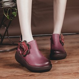 Wholesale National Wind Shoes - Free shipping Autumn and winter new national wind leather lady casual shoes black wine red High-heeled loose cake with thick wipe boots