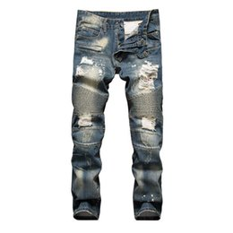 Wholesale Personalized Jeans - Europe&America fashion trend personalized printing nightclub jeans Brand clothing casual straight slim quality jeans men free shipping