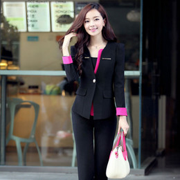 Wholesale Girl S Blazers - New Fashion Slim Fit Lady Career Suits Women Work Clothes Business Suits Women's Two Piece Pants blazer For Girls