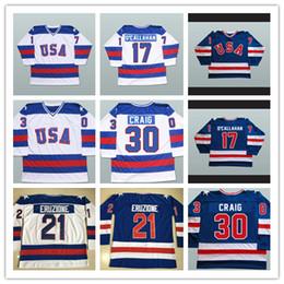 Wholesale Usa Olympics Hockey Jersey - 17 Jack O'Callahan 21 Mike Eruzione 30 Jim Craig 1980 USA Miracle Hockey Jerseys Olympic Stitched Logos