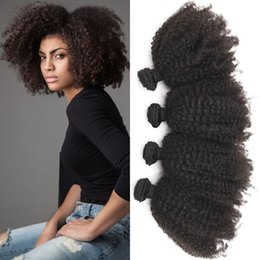 Wholesale mongolian kinky curly hair 4pcs - Peruvian Virgin Human Hair Weave Natural Black Afro Kinky Curly Double Weft 4pcs Can be Dyed FDSHINE