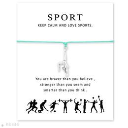Wholesale Adjustable Friendship - Silver Tone Gymnastics Charm Bracelets & Bangles Gifts For Women Girls Adjustable Friendship Statement Jewelry With Card