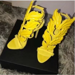 Wholesale Gold Shoe Size 42 - Big Size 42 Golden Metal Wings Leaf Strappy Dress Sandal Silver Gold Red Gladiator High Heels Shoes Women Metallic Winged Sandals Zapatos