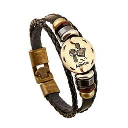 Großhandel sternzeichen armbänder online-Großhandel 12 Konstellationen Armband Sternzeichen Horoskop Lederarmband Männer Vintage Punk Casual Für Frauen Schmuck