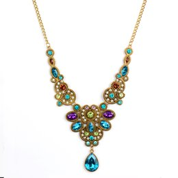 Wholesale China Cheap Wholesale Wedding Necklace - Cheap Fashion Long Blue Crystal Necklace for Women Vintage Gold Color Statement Necklaces & Pendants Indian Choker Colar Jewelry