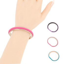 Wholesale Tying Hair Circle - Circle Bracelets with Hair Tie Band Women Hair Tie Charm Bangles Gold Silver Black Stainless Steel Bracelets