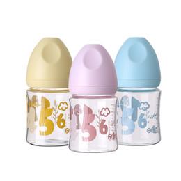 Wholesale Aa Circle - Wholesale-Baby Feeding Bottles Mugs Glass Feeding Bottle Aa 140Ml Medium Flow Glass Latex Free Wide Mouth Single Loaded Character Circle