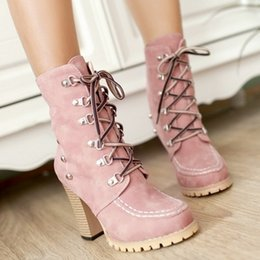 Wholesale Spiked High Heels For Women - 2017 Rivets Punk Style Gladiator Boots for Women Lace Up High Spike Heels Boots Ankle Boots Thick Heels Martin