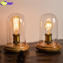Wholesale Country Lamp Shades - FUMAT Vintage Dimmer Table Lamp Loft Solid Wood Desk Lamp with Glass Shade American Country Bedrom Bedside Light Cafe Home Decor