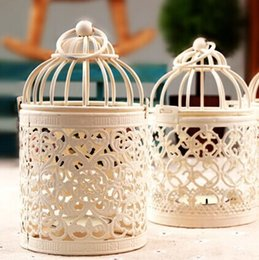 Wholesale Decoration Cage - Candle Holder European Style Classical Decor Romantic Lantern Creative Hollow Small Bird Cage Birthday Gift Portable Iron Candlestick 9sn F