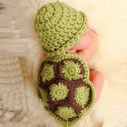 Wholesale Turtle Outfit Baby - Newborn Baby Photography Props Knitting Crochet Baby Turtle Photography Props Infant Baby Photo New born Cute Outfits