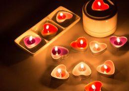 Wholesale Heart Tea Light Candles - Romantic Love Heart Candles Party Decorative Tealight Birthday Wedding Valentine's Day Christmas decor tea lights colorful