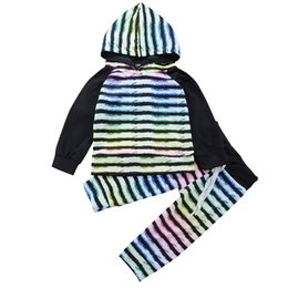 Wholesale Sport Pieces Boys - Kid casual sport clothing hooded rainbow color outfit baby boy girl unsex top+pants two-piece set Multi-Color kids clothing fashion Toddler