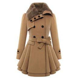 Wholesale Double Breasted Rabbit Coat - Women Winter Fur Collar Coat Slim Bodycon Rabbit Faux Fur Collar Warm Jackets Elegant Female Clothes