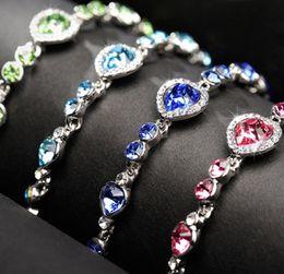 Grünes kristallherzarmband online-Blau Grün Rot Herz Ozean Liebe Charme Kristall Armbänder Armreif Manschette für Frauen Mode Hochzeit Schmuck Geschenk Tropfenverschiffen