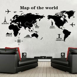 Wholesale Maps Decor - map world Map Of The World Wall Stickers Home Decoration Black Adesivo De Parede PVC Removable vinilos paredes Home Decor Wallpaper