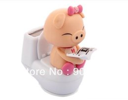 Wholesale Solar Swing Toys - Wholesale-Free Shipping 6Pcs Per Lot Swing Under Sunshine No Battery Novelty Toy Closestool Pig Solar Car Decoration