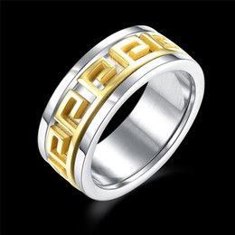 Wholesale valentine engagement - 316L Stainless Steel Gold Pattern Greek Key Ring Band Rings Tail Finger Rings for Women Men Titanium Jewelry valentine Gift DROP SHIP 080209