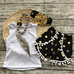 Wholesale Wholesale Toddlers T Shirts - 2017 ins girls suits 3PCS Kids Toddler girl feather printed t-shirts +tassel dot shorts+dot headband baby wholesale clothing