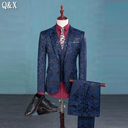 Wholesale Korean Wedding Suits For Men - Wholesale- MS56 Prom Men Suit With Pants Blue Floral Jacquard Wedding Suits for Men 3 pieces   Set (Jacket+Vest+Pants) Korean Slim Fit Suit