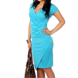 Wholesale Cheap Office Dress Clothes - Wholesale- Office Pencil Dress Black Quality Cheap Clothes China Bodycon Robe Party Vestidos Female Clothing Low Price Summer Women Dress