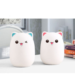 Wholesale Bear Led Night Lamp - Bud Bear Silicone LED Night Light USB Rechargeable Touch Sensor Light Children Cute Night Lamp SMD3528 Chipfor Bedroom