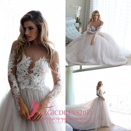 Wholesale Puffy Long Princess Skirt - Erin Cole 2016 A-Line Wedding Dresses with Long Sleeves Sheer Neck Illusion Bodice Puffy Court Train Vintage Garden Beach Bridal Gowns