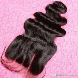 Wholesale Malaysian Hair Tied Weft - 3 Part Malaysian Lace Closure Hair 4*4inches Malaysian Body Wave Closure Hair Hand Tied Closure Natural Color Can Be Dyed for 3,4,5 piece