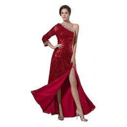 Wholesale Legging Sexy Models - Burgundy Sequined Fabrics Evening Dress Attractive Split Leg Long Sleeve Ladies Fashion Party Dress 2017 New