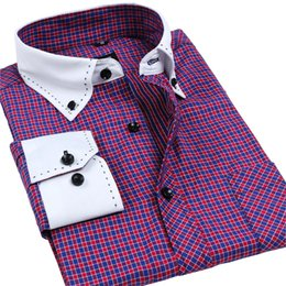 Wholesale Korean Designer Shirts - Wholesale- Autumn Collar Designer Long sleeve Korean Men's Dress Shirts Top Quality Solid   Plaid Business Shirts Pin tribute Shirts 3XL