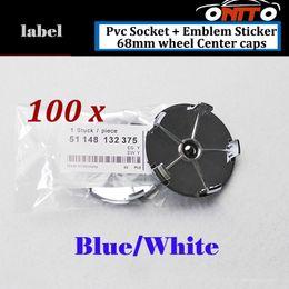 Wholesale Blue Epoxy Resin - Wholesale 100Pcs Auto Wheel Center Logo Cap PVC Badge 68mm Label Epoxy Resin Car Wheel Hub Emblem Cover Blue White