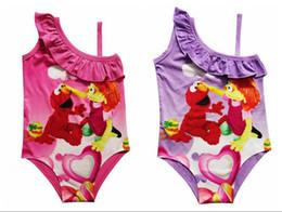 Wholesale Sesame Street Clothes - 2017 New Children Girls Elmo Cartoon One-Pieces Sesame Street Baby Swimwear Julia Kids Girls Beach Clothing Bathing suit