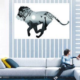 Wholesale Abstract Horse - 50*120Cm HD UV Fantasy Wall Art Prints Slight Spray Painting Canvas Paints Unframed Abstract Landscape Paintings Horse Lion Running Paint