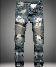 Wholesale Skinny Jeans Blue Man - Famous Distressed patches Biker Cargo Jeans stretch Demin jeans Hiphop Cropped Pants with Extreme Men ripped Straight Tight Plus size 28~38