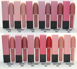 matte red lip Promo Codes - DHL Free Shipping 12 color high quality New Makeup Lips Lustre Lip Gloss Matte liquid Lipstick!4.5g