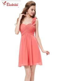 Wholesale T Shirts Shoulder Pads - Sheath Bridesmaid Party Dresses One Shoulder Flowers Padded Ruffles Short Formal Dresses